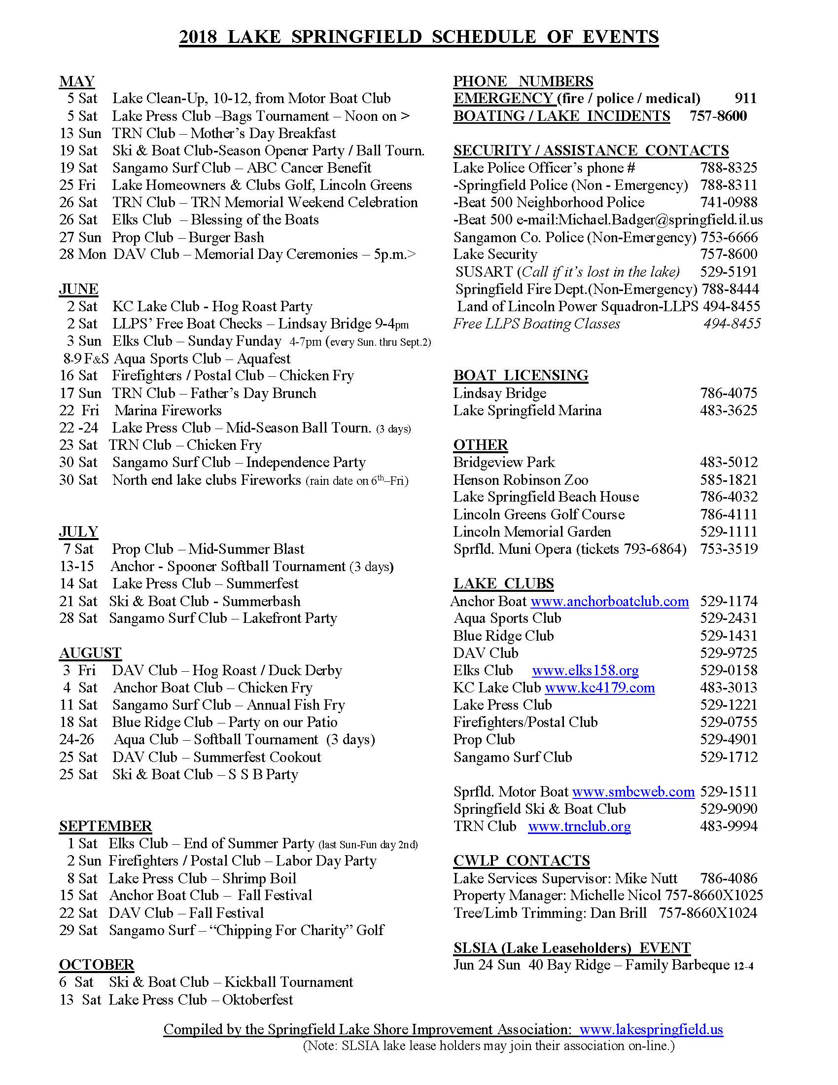 lake springfield schedule of events